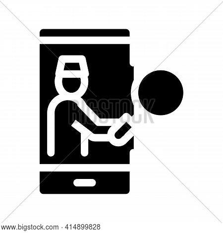 Health Examination Phone Call Glyph Icon Vector. Health Examination Phone Call Sign. Isolated Symbol