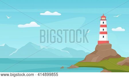 Sea Landscape With Beacon. Lighthouse Tower On Coast With Rock. Cartoon Blue Sky With Seagulls, Shor