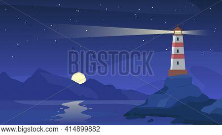 Lighthouse At Night. Sea Beacon With Beam On Rocky Coast. Cartoon Navigation Light Tower On Seashore