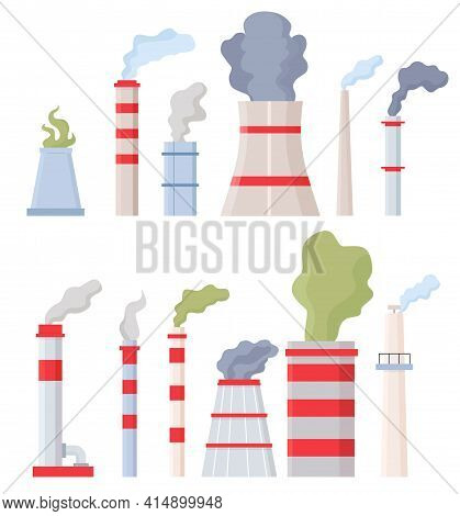 Factory Chimney With Smoke. Manufacturing Pipes With Toxic Chemical Fumes, Environment And Air Pollu