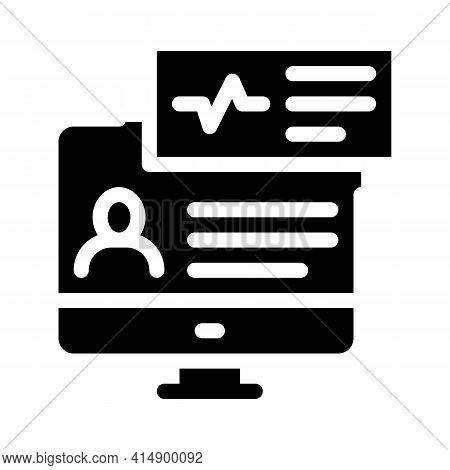 Cardio Analysis Internet Diagnosis Glyph Icon Vector. Cardio Analysis Internet Diagnosis Sign. Isola