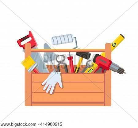 Toolbox With Equipment. Wooden Toolkit Box With Saw, Drill, Brush Trowel And Building Level. House R