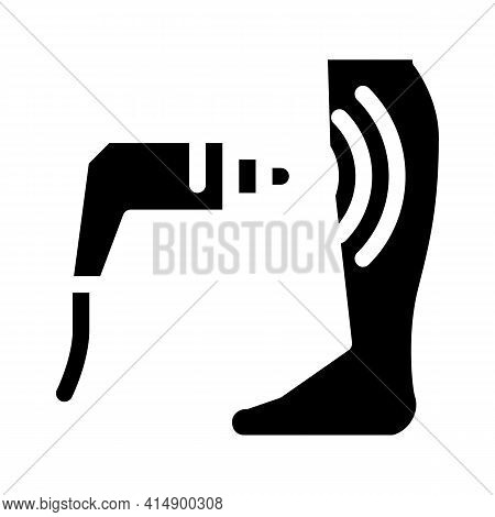 Ultrasound Treatment Varicose Veins Glyph Icon Vector. Ultrasound Treatment Varicose Veins Sign. Iso