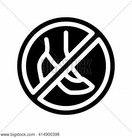 Prohibition Wearing Shoes With Heels Glyph Icon Vector. Prohibition Wearing Shoes With Heels Sign. I