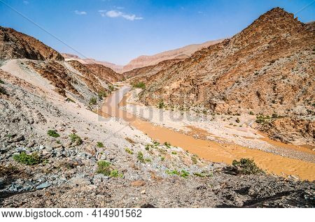 Orange River Moulouya (oued) Around Aouli Mines Near Midelt In Morocco After Rain