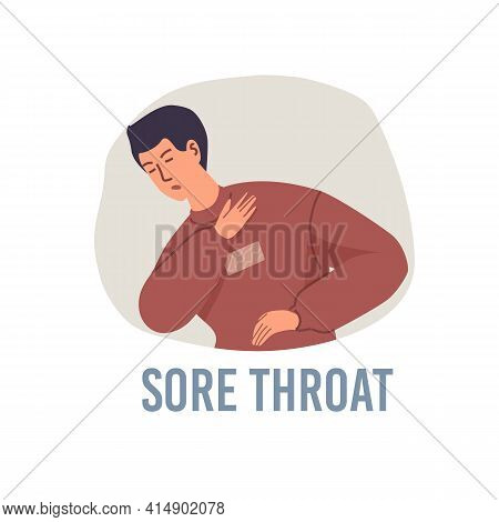 Vector Cartoon Flat Patient Character Ill, Sick Person-sore Throat Disease Treatment And Therapy Med