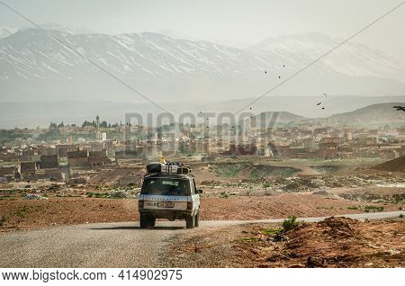 Midelt, Morocco - April 10, 2014. Old Vintage Car With Czech Plate Heading To The City With Rubbish
