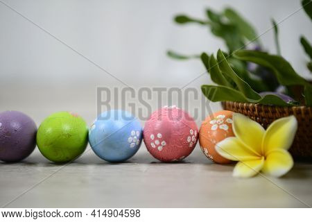 Colorful Easter Eggs On White Bright Background. Easter Egg Backgrounds. Happy Easter. With Easter E