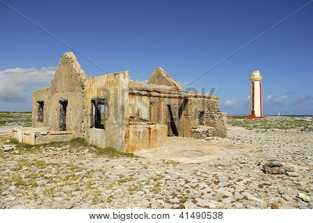 Ruins By The Willemstoren Lighthouse On Bonaire