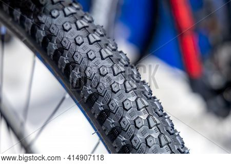 New Bike Tire. Bicycle Wheel Close Up. Rubber Tire. Active Lifestyle