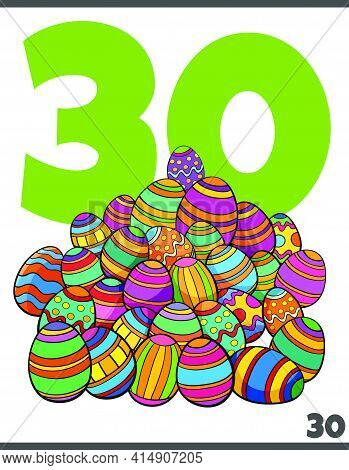 Cartoon Illustration Of Number Thirty For Children With Easter Colored Eggs Group