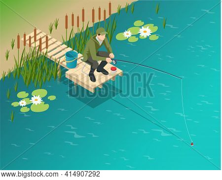Fisherman With A Fishing Rod. Isometric Fisherman With A Fishing Rod Is Fishing On A Lake Or River.