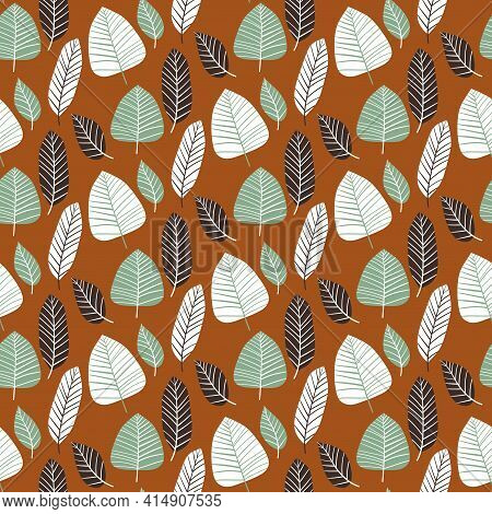 Warm Motley Leaves Floral Seamless Pattern Vector. Hand Drawn Tropical Leaves By Natural Colors. Min