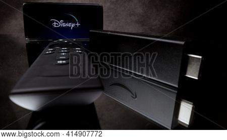 Disney Plus On Amazon Fire Tv Stick 4k In Close-up - Frankfurt, Germany - March 29, 2021