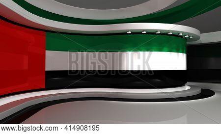 Tv Studio. Dubai Flag Studio. Dubai Flag Background. News Studio. The Perfect Background For Any Gre
