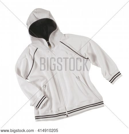 white cotton sports sweatshirt for boys isolated on white