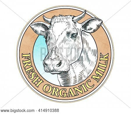 Milk label with a cow head drawn with black ink. Digital illustration.