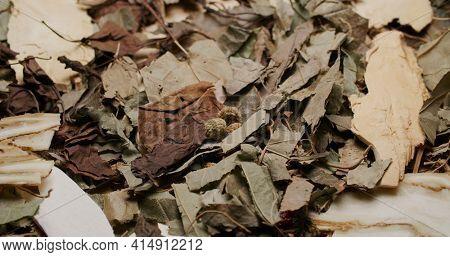 Stack of Chinese herbal tea medicine