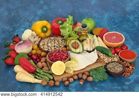 Health food for a low carb diet for a healthy heart and low blood pressure with foods high in antioxidants, omega 3, protein, anthocyanins, vitamins, minerals, smart carbs, fibre and lycopene.