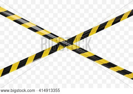 Realistic Vector Crime Tapes With Black And Yellow Stripes. Crossed Warning Ribbon.