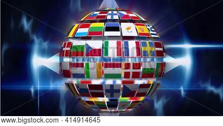 Composition of globe formed with national flags on glowing blue background. global technology, business, connection, communication and networking concept digitally generated image.