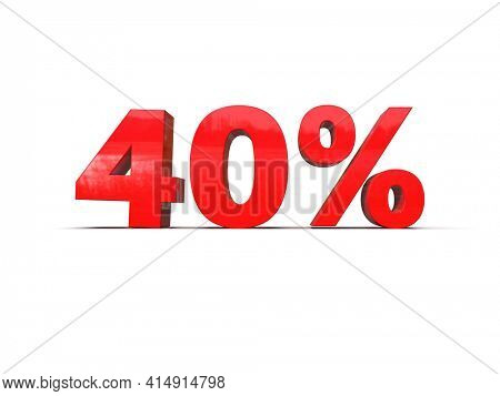 3d Illustration: Down Recession Arrow and 40 Percent Sign, Economic Crisis, Financial Crash, Red 40% Percent Discount 3d Sign on White Background, Special Offer 40% Discount Tag, Sale Up to 40 Percent