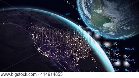 Composition of two globes with world map in background. global technology, environment, connection and networking concept digitally generated image.