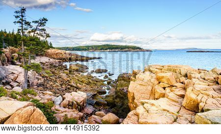 Rocky coastline in Acadia National Park in Maine at low tide