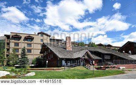 JACKSON HOLE, WYOMING - 27 JUNE 2017: The Inn at Jackson Hole, located at the base of Jackson Hole Mountain Resort.