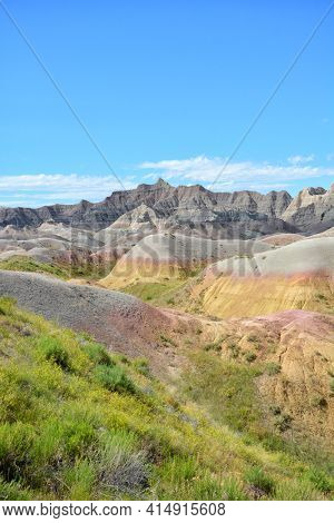 Badlands National Park - Vertical Landscape of The Yellow Mounds, an example of a paleosol or fossil soil.