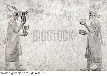 Ancient wall with bas-relief with two foreign ambassadors with gift and donation, Persepolis, Iran. Horizontal background with embossed image persian bearded man. Mock up template. Copy space for text