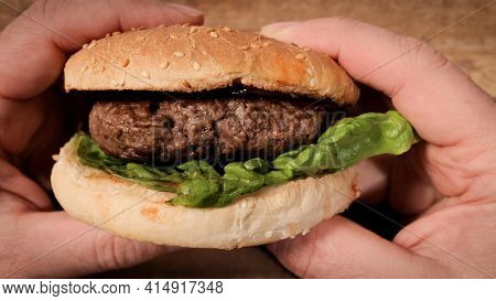 Freshly Made Grilled Hamburger - Ready To Eat - Studio Photography
