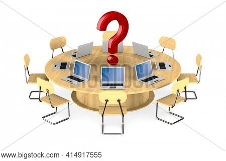 conference table on white background. Isolated 3D illustration