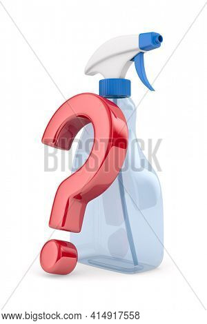 disinfectant spray and question on white background. Isolated 3d illustration