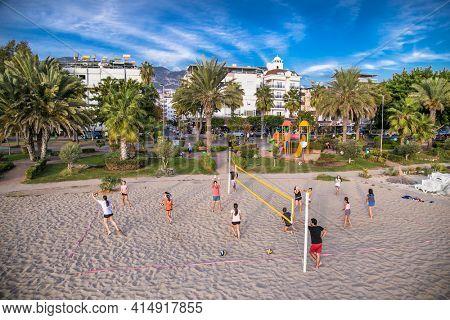 Alanya, Turkey - October 20, 2020: Beach volleyball court  the Cleopatra beach in Alanya. Turkey.