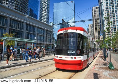 TORONTO, CANADA -23 JUNE 2019: A view of the new Toronto Street Cars , Toronto light rail system is the third busiest light-rail system in North America.