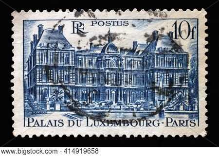ZAGREB, CROATIA - SEPTEMBER 09, 2014: Stamp printed in the France shows Palais Du Luxembourg, Paris (Luxembourg Palace), circa, 1946