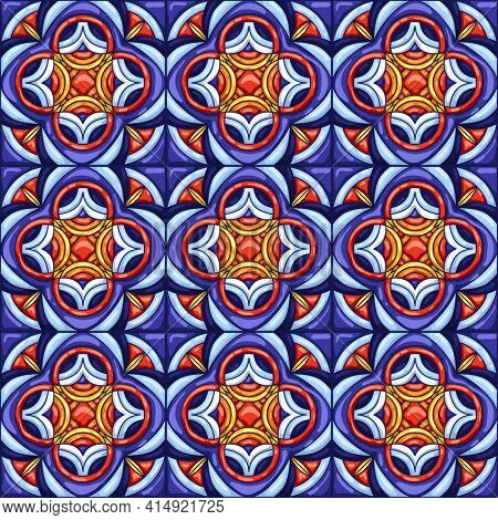 Ceramic tile pattern. Typical ornate portuguese or italian ceramic tiles. Decorative abstract background. Seamless retro