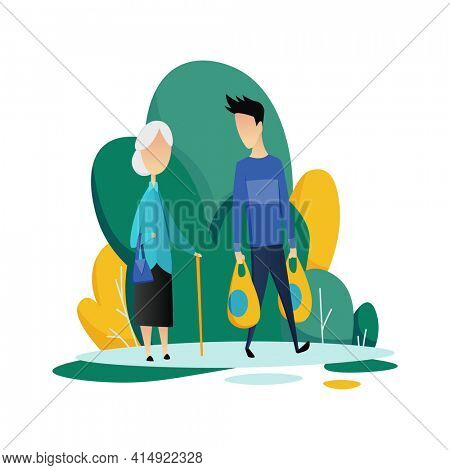 Social worker taking care about seniors people. Volunteer young people help elderly woman shop.  flat cartoon illustration
