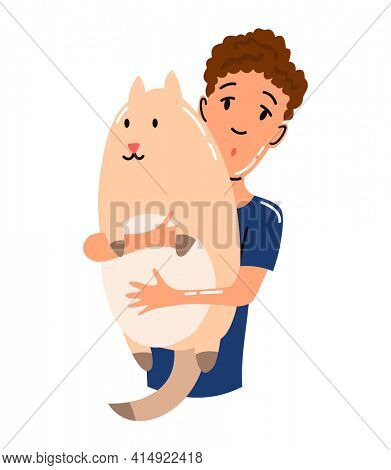 People and pet. Cat pet owner character. Owner hugging cat. Young boy love him animal. Cute and adorable domestic animal