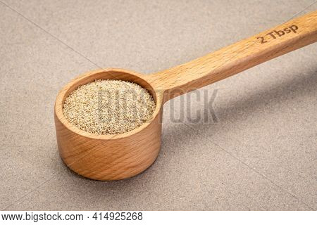 gluten free ivory teff grain in a wooden measuring scoop, important food grain in Ethiopia and Eritrea