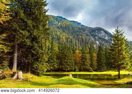 Alps. Yellow trees are reflected in the green smooth water of the lake. Lake Fuzine. Border between Northern Italy and Slovenia.