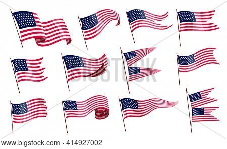 Waving flags. Set of american flags on white background. National flags waving symbols. Banner design elements