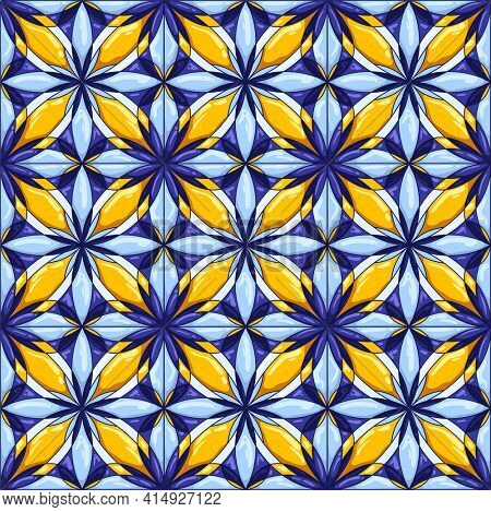 Ceramic tile pattern. Decorative abstract background. Traditional ornate mexican talavera, portuguese azulejo or spanish majolica