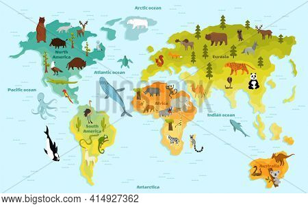 Funny cartoon animal world map for children with the continents, oceans and lot of funny animals.  illustration for preschool education in kids design. Cartoon animals for kids