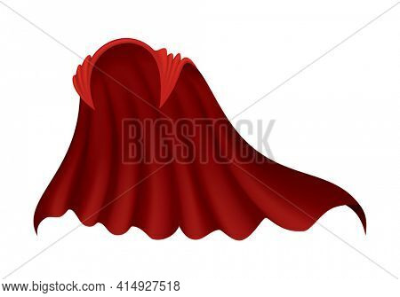 Superhero red cape on white background. Scarlet fabric silk cloak. Mantle costume or cover cartoon  illustration. Flying carnival clothes