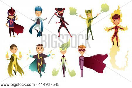 Cartoon superhero kids characters. Joyful kid wearing super hero costume with mask and comic cloak for brave recreation. Set of cartoon characters isolated on white background