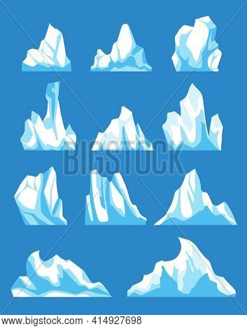 Icebergs. Cartoon floating iceberg  set. Ocean ice rocks landscape for climate and environment protection concept. Iceberg cold, nature winter glacier