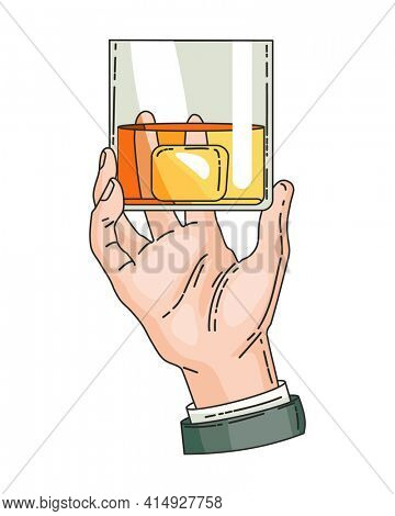 Hand holding glass with strong drink whiskey. Vintage hand drawing  illustration. Drink tequila or whiskey, beverage booze in hand. Glass of whiskey with ice isolated on transparent background