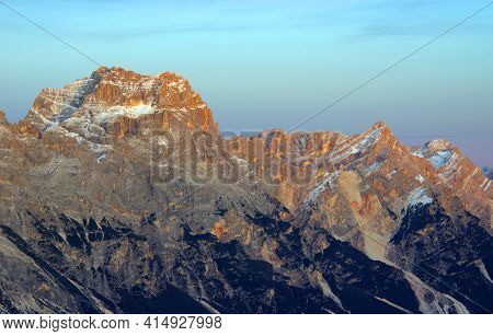 Scenic sunset landscape in the Dolomites, Italy, Europe